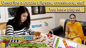 Describe a puzzle jigsaw, crossword, etc you have played Cue Card